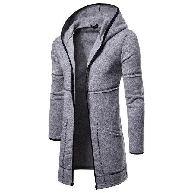 Fashion Mens Coats Hooded Solid Trench Coat Jacket Cardigan Long Sleeve Cotton Outwear Blouse Casual-Hoodies & Sweatshirts-Shop5169008 Store-Gray-M-EpicWorldStore.com