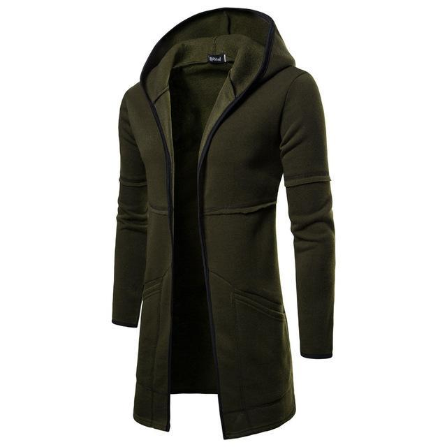 Fashion Mens Coats Hooded Solid Trench Coat Jacket Cardigan Long Sleeve Cotton Outwear Blouse Casual-Hoodies & Sweatshirts-Shop5169008 Store-Green-M-EpicWorldStore.com