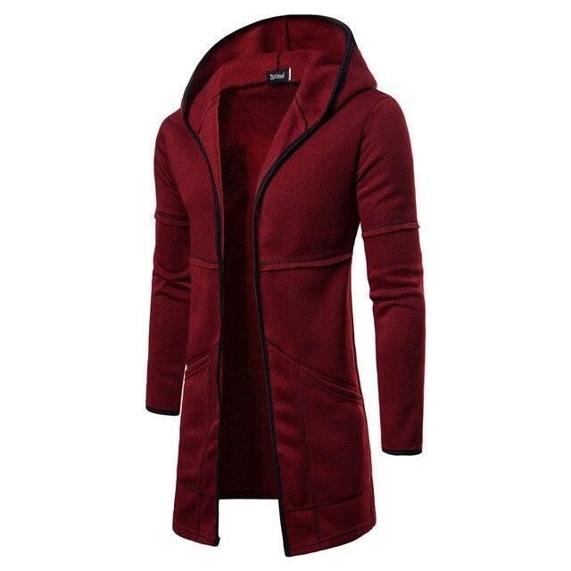 Fashion Mens Coats Hooded Solid Trench Coat Jacket Cardigan Long Sleeve Cotton Outwear Blouse Casual-Hoodies & Sweatshirts-Shop5169008 Store-Wine Red-M-EpicWorldStore.com