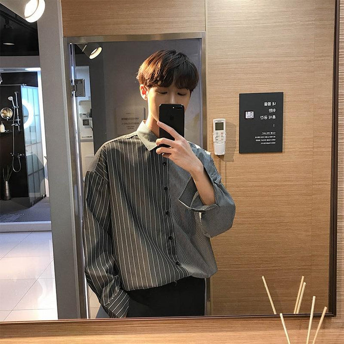 Flash Sale Korean Summer Neutral Style Concise Irregularity Stylish Split Joint Stripe Loose Shirt-Casual Shirts-Xinyuan men clothes Store-c399black-M-EpicWorldStore.com