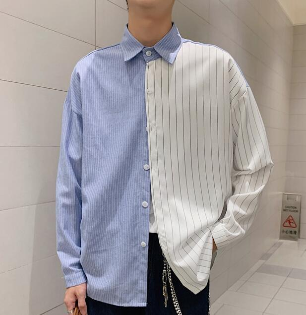 Flash Sale Korean Summer Neutral Style Concise Irregularity Stylish Split Joint Stripe Loose Shirt-Casual Shirts-Xinyuan men clothes Store-c399white-M-EpicWorldStore.com