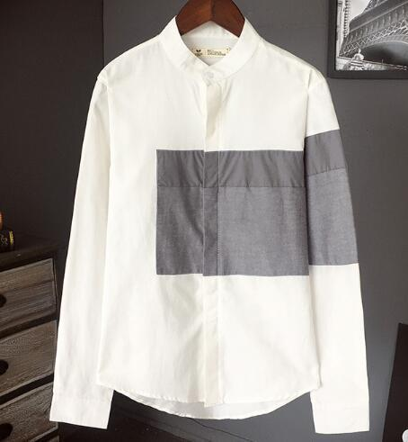 Flash Sale Korean Summer Neutral Style Concise Irregularity Stylish Split Joint Stripe Loose Shirt-Casual Shirts-Xinyuan men clothes Store-c6666gray-M-EpicWorldStore.com