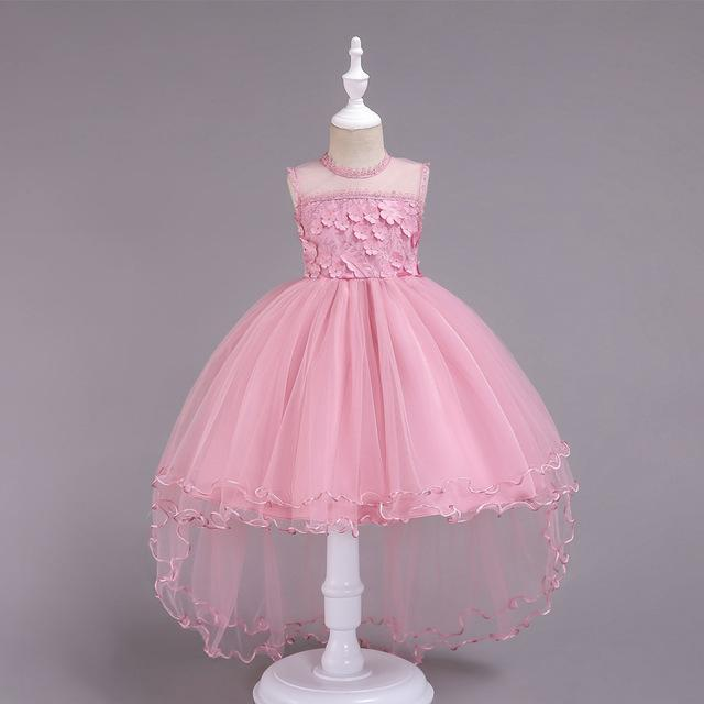 Flower Smear Girl Dress Party Wedding Gown Kids Formal Bridesmaid Dress Baby Girl Princess Dress For-Home-Luck Rabbit Store-Pink-3T-EpicWorldStore.com
