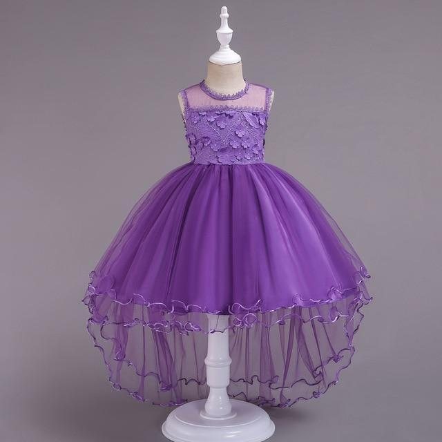 Flower Smear Girl Dress Party Wedding Gown Kids Formal Bridesmaid Dress Baby Girl Princess Dress For-Home-Luck Rabbit Store-purple-3T-EpicWorldStore.com