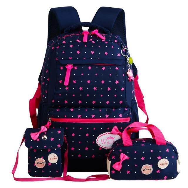 Girl School Bags For Teenagers Backpack Set Women Shoulder Travel Bags 3 Pcs/Set Rucksack Mochila-Kids & Baby's Bags-MOVING BAG-deep blue A-MostlyShades.com