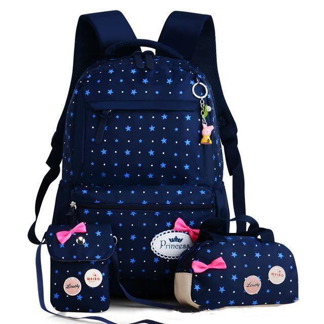 Girl School Bags For Teenagers Backpack Set Women Shoulder Travel Bags 3 Pcs/Set Rucksack Mochila-Kids & Baby's Bags-MOVING BAG-deep blue B-MostlyShades.com