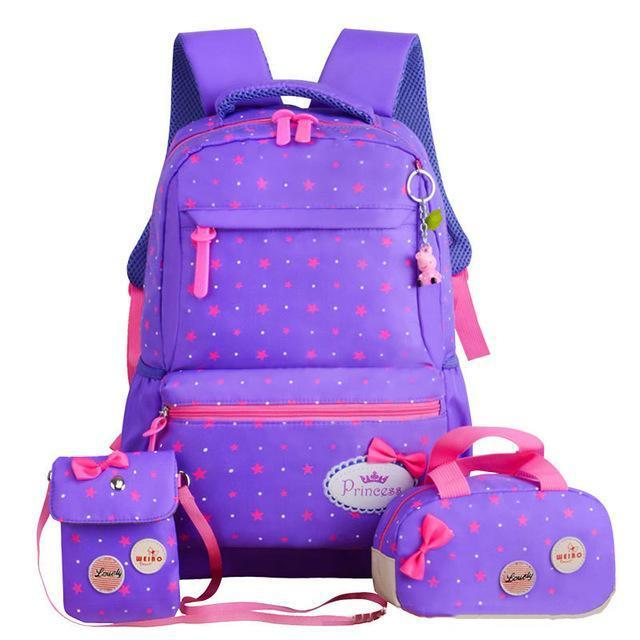 Girl School Bags For Teenagers Backpack Set Women Shoulder Travel Bags 3 Pcs/Set Rucksack Mochila-Kids & Baby's Bags-MOVING BAG-purple-MostlyShades.com