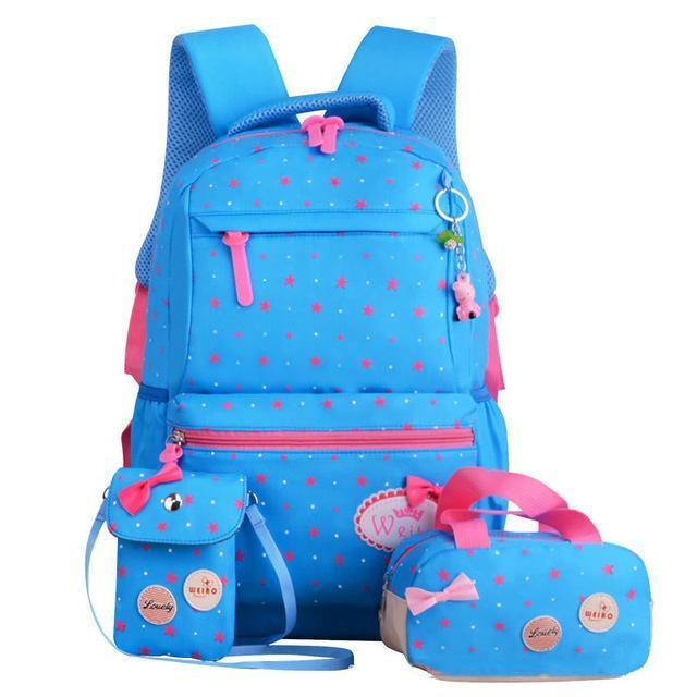 Girl School Bags For Teenagers Backpack Set Women Shoulder Travel Bags 3 Pcs/Set Rucksack Mochila-Kids & Baby's Bags-MOVING BAG-sky blue B-MostlyShades.com