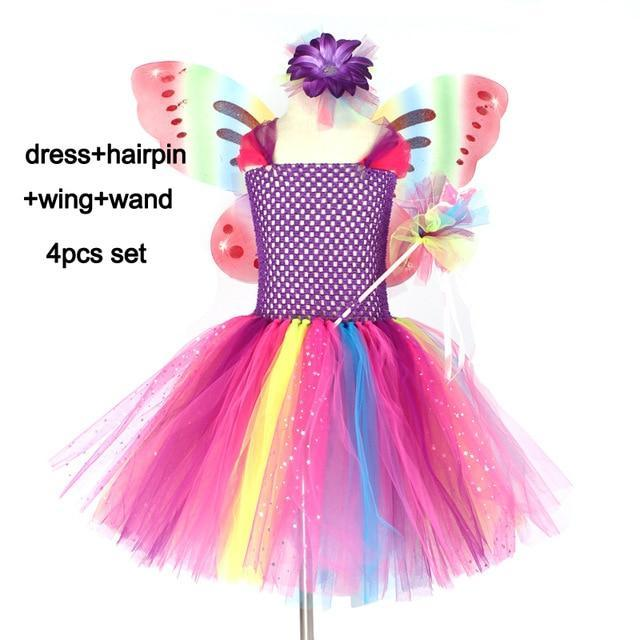 Girls Butterfly Fairy Fancy Tutu Dress Wings Costume Kids Princess Birthday Party Halloween-Home-keenomommy Official Store-4pcs set-2T-EpicWorldStore.com