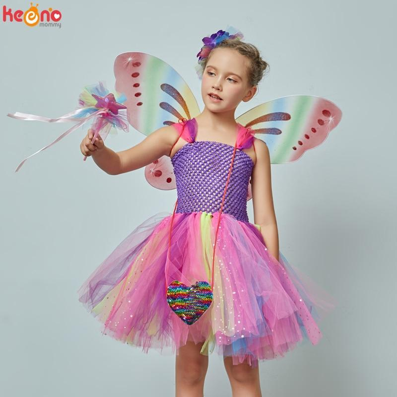 Girls Butterfly Fairy Fancy Tutu Dress Wings Costume Kids Princess Birthday Party Halloween-Home-keenomommy Official Store-5pcs set-2T-EpicWorldStore.com