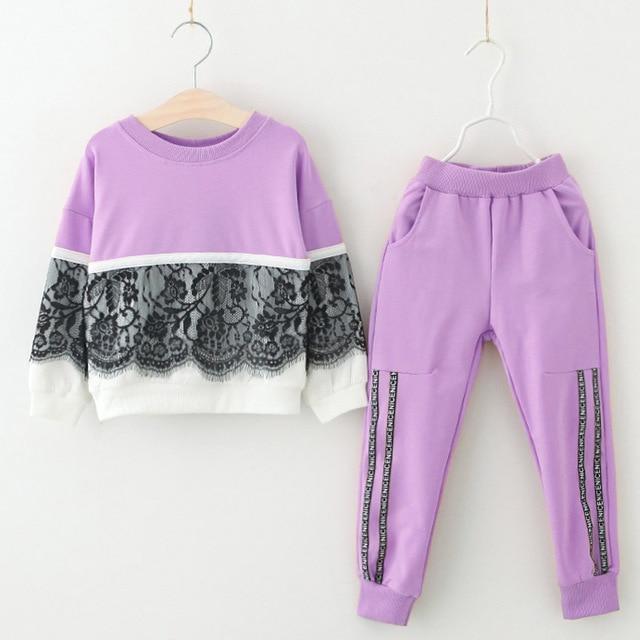 Girls Clothing Sets 2020 Autumn Spring Toddler Girls Clothes Outfit Kids Tracksuit For Girl Suit-Clothing Sets-LZH Official Store-Purple-3T-EpicWorldStore.com