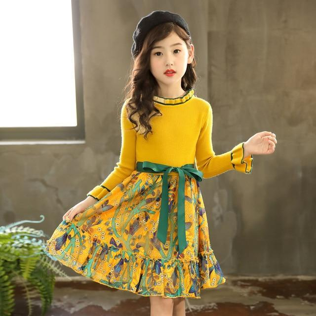 Girls Dress Winter Children Clothing Kids Dress For Wedding Party Toddler Long Sleeve Princess Brand-Dresses-HAKEEM1 Store-Yellow-3T-EpicWorldStore.com