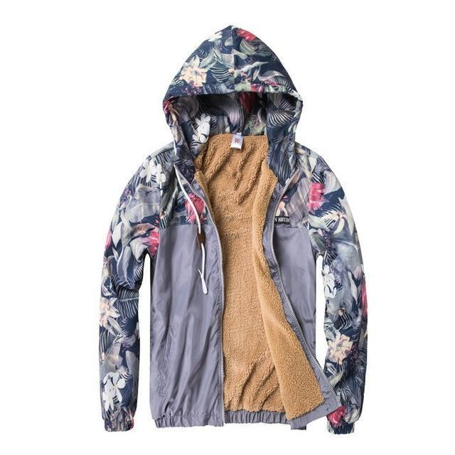 Grandwish Floral Bomber Jacket Men Hip Hop Slim Fit Flowers Pilot Bomber Jacket Coat Mens Hooded-Jackets & Coats-Grandwish Men's Store-Fleece Gray-M-MostlyShades.com