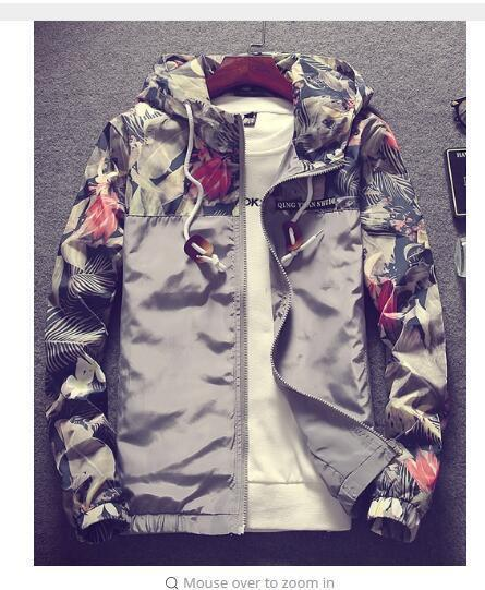 Grandwish Floral Bomber Jacket Men Hip Hop Slim Fit Flowers Pilot Bomber Jacket Coat Mens Hooded-Jackets & Coats-Grandwish Men's Store-Gray-M-MostlyShades.com