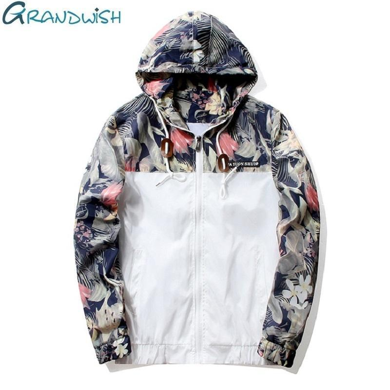 Grandwish Floral Bomber Jacket Men Hip Hop Slim Fit Flowers Pilot Bomber Jacket Coat Mens Hooded-Jackets & Coats-Grandwish Men's Store-White-M-MostlyShades.com