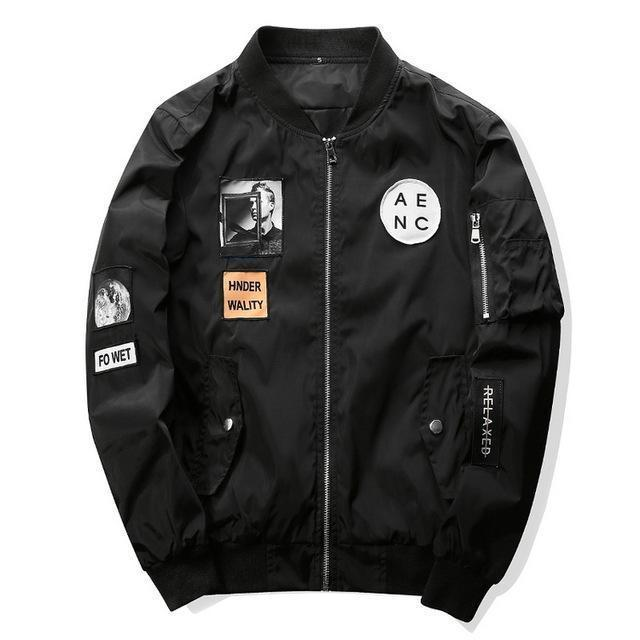 Grandwish Men Bomber Jacket Hip Hop Patch Designs Slim Fit Pilot Bomber Jacket Coat Men-Jackets & Coats-Grandwish Men's Store-Black-M-MostlyShades.com