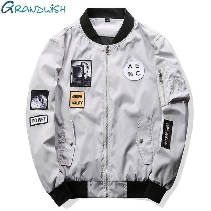 Grandwish Men Bomber Jacket Hip Hop Patch Designs Slim Fit Pilot Bomber Jacket Coat Men-Jackets & Coats-Grandwish Men's Store-Gray-M-MostlyShades.com