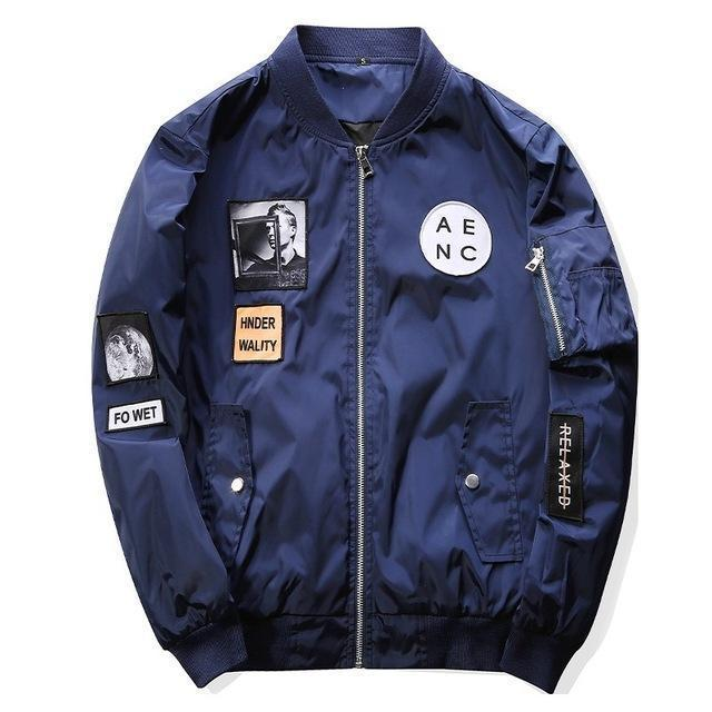 Grandwish Men Bomber Jacket Hip Hop Patch Designs Slim Fit Pilot Bomber Jacket Coat Men-Jackets & Coats-Grandwish Men's Store-Navy-M-MostlyShades.com