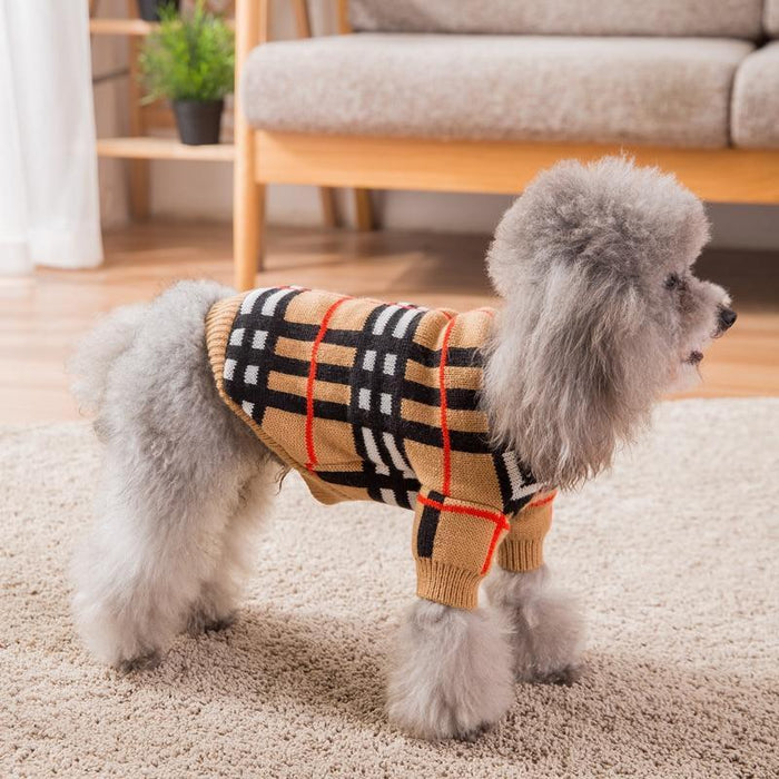 Hipidog Free Shipping Brand Knitted Winter Pet Sweater For Dog And Cat Luxury Plaid Dog Sweater-Dog Sweaters-hipidog Advanced Store-Khaki-XS-EpicWorldStore.com