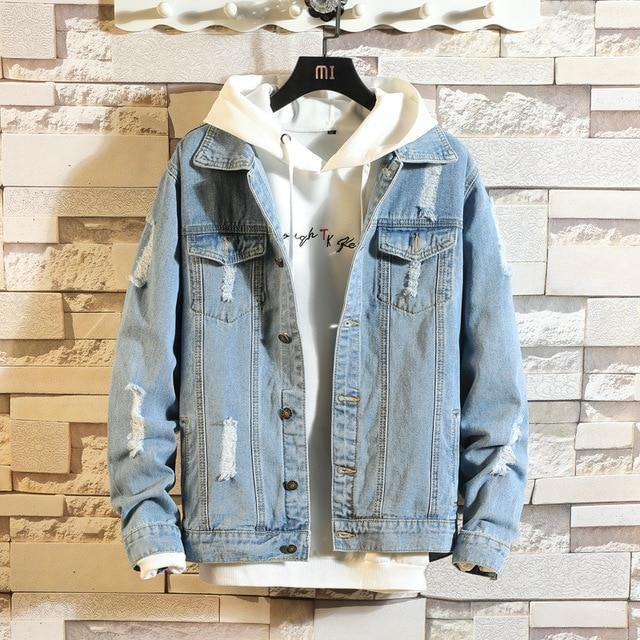 Hole Denim Jacket Male Autumn Jacket Men Jackets Jackets And Coats Designer Clothes Mens High-Home-CINESSD A Store-Sky blue-AM-EpicWorldStore.com