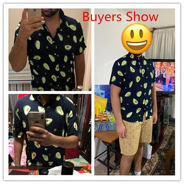 Incerun Summer Avocado Print Men Shirt Turn Down Collar Short Sleeve Casual Beach Hawaiian Shirts-Casual Shirts-Vindy Store-White Shirt-S-EpicWorldStore.com