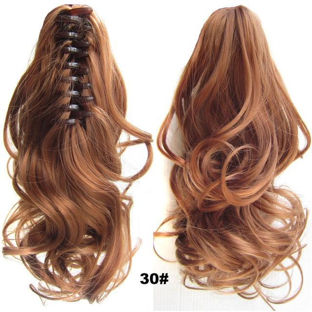"Jeedou Short Wavy Synthetic Ponytails Hair Extensions Claw Ponytail 16"" 40Cm 90G Black Red Blonde-jeedou Official Store-Natural Color-MostlyShades.com"