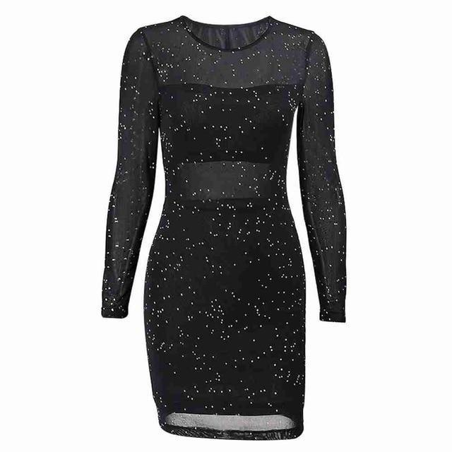 Kureas Mesh Sequin Dress Women Winter Autumn Long Sleeve Bodycon Night Club Perspective Sexy Lace-Home-Kureas Official Store-Black-S-EpicWorldStore.com