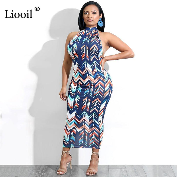 Liooil Colorful Geometric Backless Bodycon Midi Dress Women Sexy Clubwear Summer Sleeveless Halter-Home-Liooil Franchised Store-Multi-S-EpicWorldStore.com