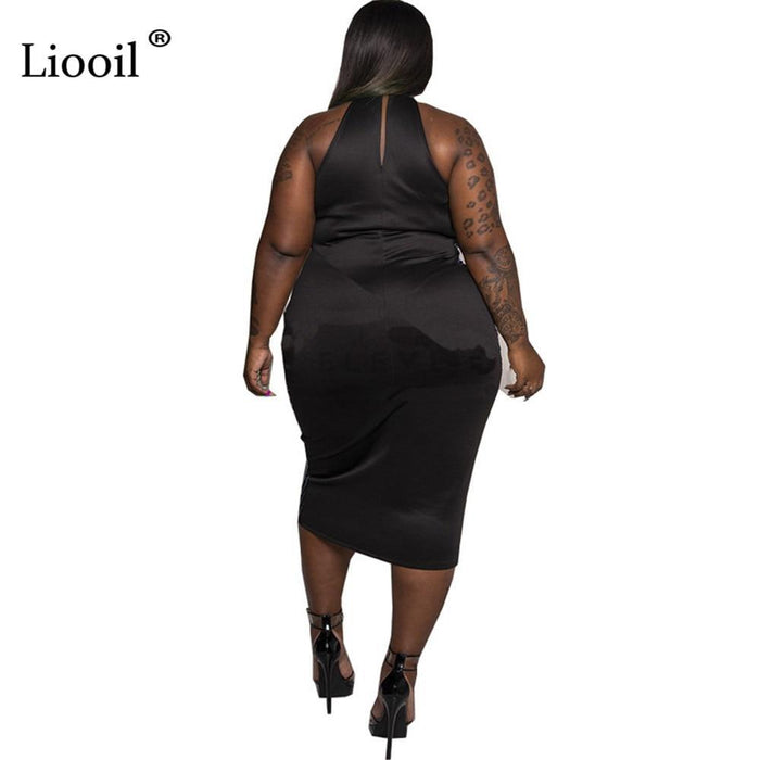 Liooil Plus Size Sequin Bodycon Midi Dress Sexy Club Wear Sleeveless O Neck Tight Fitted Dresses-Home-Liooil Franchised Store-Black-XL-EpicWorldStore.com
