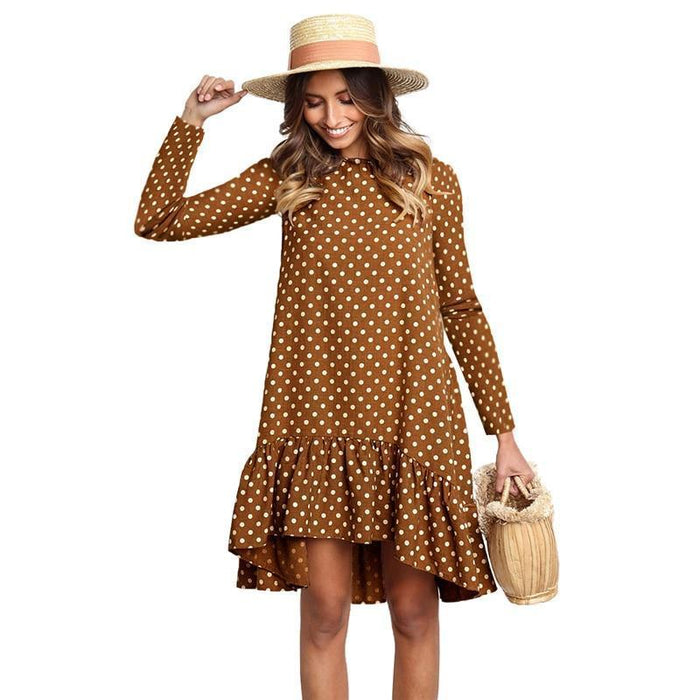 Lossky Women Spring Dress Fashion Polka Dot Print Ladies Casual Clothing Long Sleeve Mini Short-Dresses-LOSSKY Official Store-Blue-Loose dress S-EpicWorldStore.com