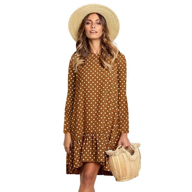 Lossky Women Spring Dress Fashion Polka Dot Print Ladies Casual Clothing Long Sleeve Mini Short-Dresses-LOSSKY Official Store-Brown-Loose dress S-EpicWorldStore.com