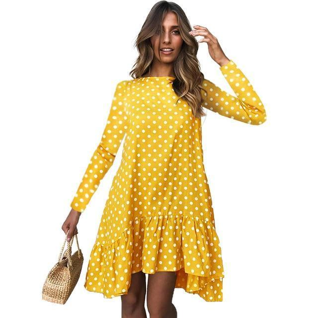Lossky Women Spring Dress Fashion Polka Dot Print Ladies Casual Clothing Long Sleeve Mini Short-Dresses-LOSSKY Official Store-Yellow-Loose dress S-EpicWorldStore.com