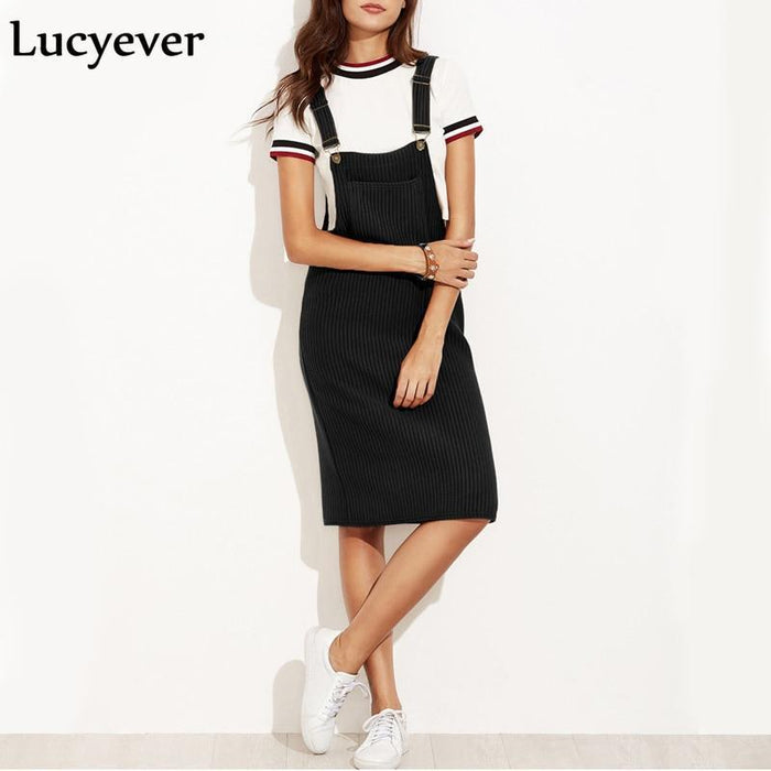 Lucyever Vintage Elastic Women Midi Dress Spring Autumn Strap Suspender Female Dress Casual Pocket-Dresses-Lucyever Store-Black-S-EpicWorldStore.com