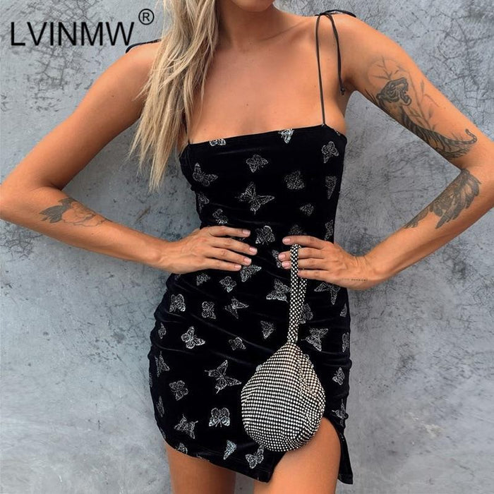 Lvinmw Sexy Butterfly Print Lace Up Strap Dress New 2020 Spring Women Sleeveless Side Split Mini-Home-LVINMW Store-Black-S-EpicWorldStore.com