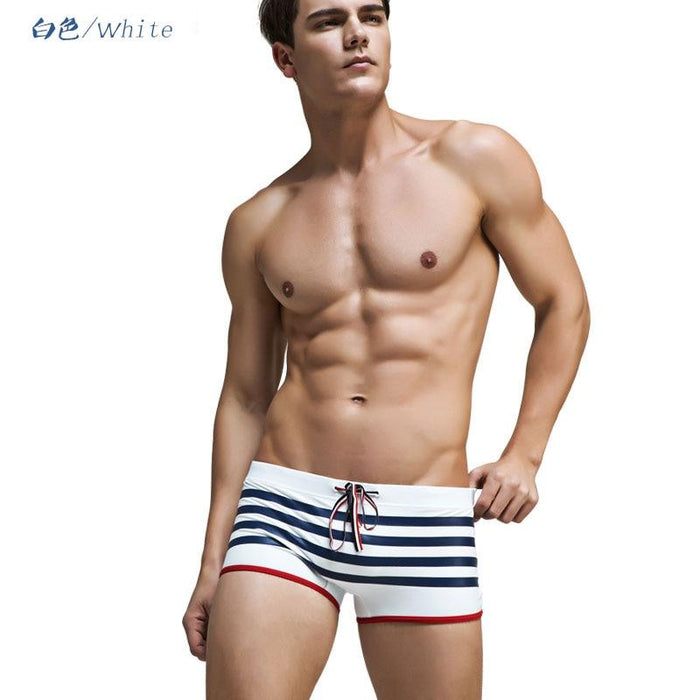 Man Swimwear Surfing Beach Pants Boxer Mens Swimming Trunks Sexy Shorts Swim Briefs Boxers Sports-Body Suits-uhx-swim Store-White A-M-EpicWorldStore.com