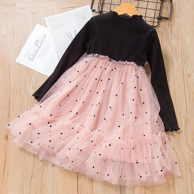Melario Spring Girls Dresses Casual Baby Girls Clothes Kids Dresses For Girls Cotton Mesh Birthday-Dresses-Small lovely world-AX1328Black-2T-EpicWorldStore.com