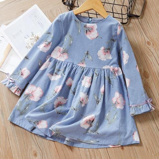 Melario Spring Girls Dresses Casual Baby Girls Clothes Kids Dresses For Girls Cotton Mesh Birthday-Dresses-Small lovely world-AZ1041Blue-2T-EpicWorldStore.com