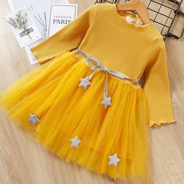 Melario Spring Girls Dresses Casual Baby Girls Clothes Kids Dresses For Girls Cotton Mesh Birthday-Dresses-Small lovely world-AZ1490Yellow-2T-EpicWorldStore.com