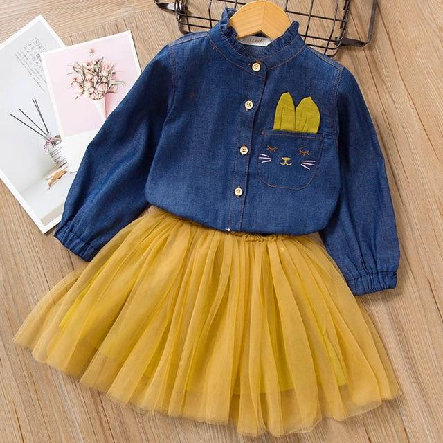 Melario Spring Girls Dresses Casual Baby Girls Clothes Kids Dresses For Girls Cotton Mesh Birthday-Dresses-Small lovely world-AZ1778Yellow-2T-EpicWorldStore.com