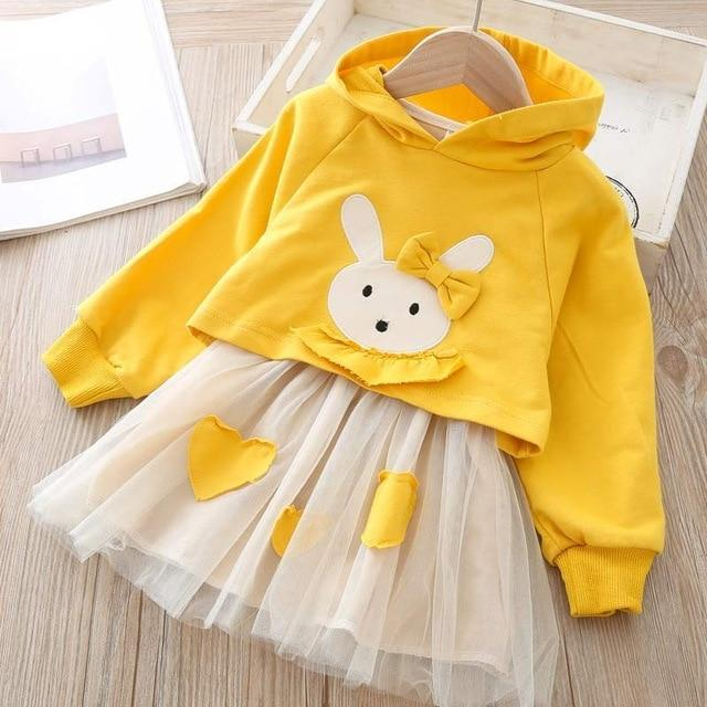 Melario Spring Girls Dresses Casual Baby Girls Clothes Kids Dresses For Girls Cotton Mesh Birthday-Dresses-Small lovely world-AZ2203Yellow-2T-EpicWorldStore.com