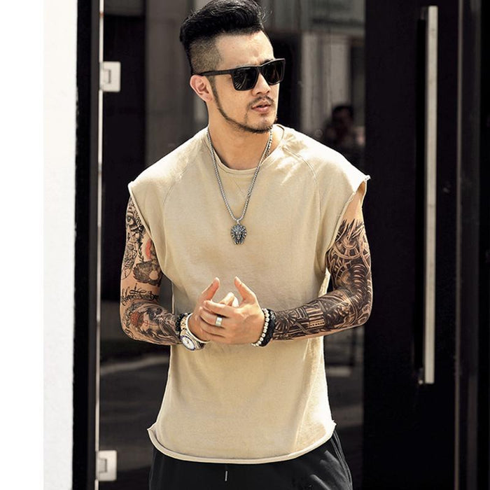 Mens Sleeveless Knitwear Sleeveless Undershirt Wide Shoulder Vest Bodybuilding Tank Top Men-Tank Tops-MIX MAN Store-apricot-S-EpicWorldStore.com