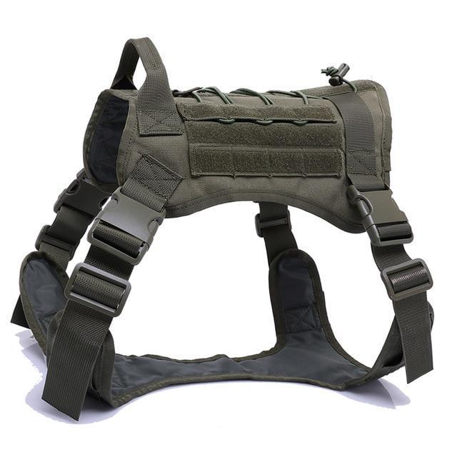 Military Tactical Dog Harness K9 Working Dog Vest Nylon Bungee Leash Lead Training Running For-Home-vailge Official Store-army green harness-M-EpicWorldStore.com