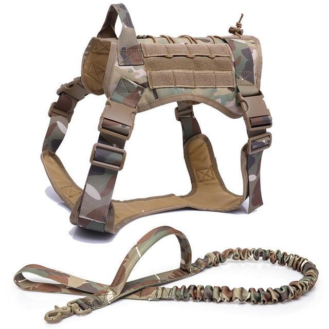 Military Tactical Dog Harness K9 Working Dog Vest Nylon Bungee Leash Lead Training Running For-Home-vailge Official Store-harness and leash-M-EpicWorldStore.com