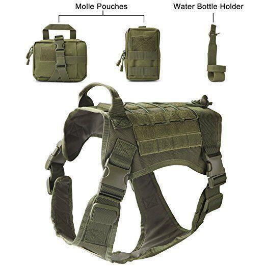 Military Tactical Dog Modular Harness With No Pull Front Clip Law Enforcement K9 Working Cannie-Leashes-Lovoyager official store-Army Green Suit-M-EpicWorldStore.com