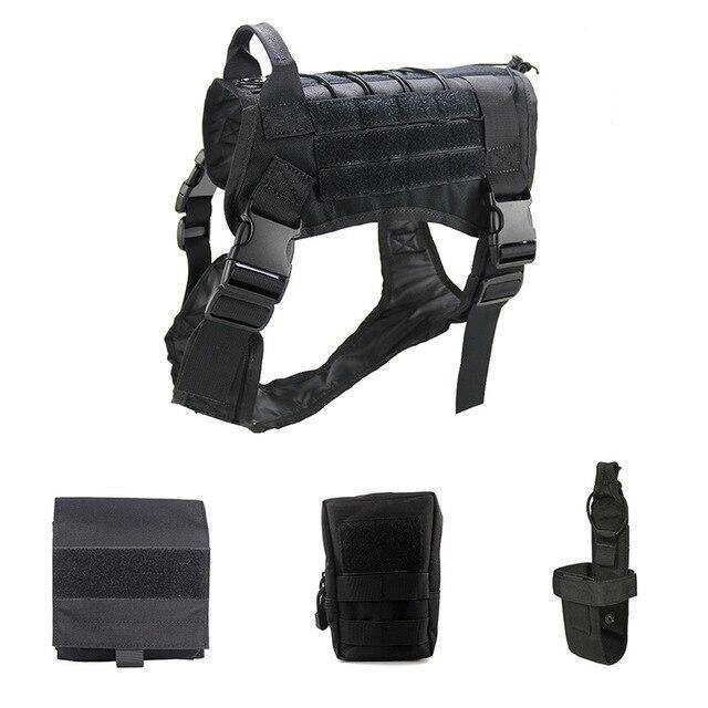 Military Tactical Dog Modular Harness With No Pull Front Clip Law Enforcement K9 Working Cannie-Leashes-Lovoyager official store-Black Suit-M-EpicWorldStore.com