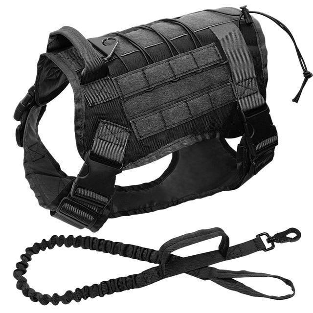 Military Tactical Dog Modular Harness With No Pull Front Clip Law Enforcement K9 Working Cannie-Leashes-Lovoyager official store-Black with leash-M-EpicWorldStore.com