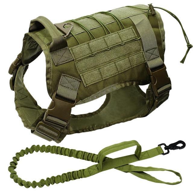 Military Tactical Dog Modular Harness With No Pull Front Clip Law Enforcement K9 Working Cannie-Leashes-Lovoyager official store-Green with leash-M-EpicWorldStore.com