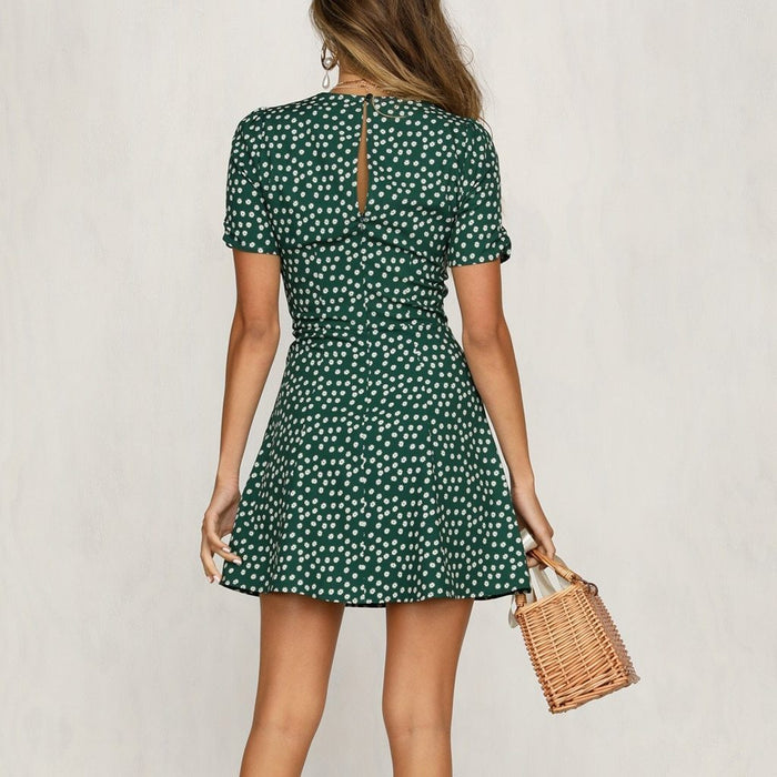 Mini Dress Print V Neck Womens Summer Sun Dress Ladies Short Sleeve Bodycon The Dress Beach Party-Dresses-womencloserm Store-Green-S-EpicWorldStore.com