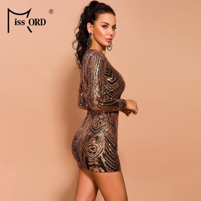 Missord 2020 Autumn And Winter Women O Neck Long Sleeve Sequin Dresses Female Elegant Mini-Dresses-MISS ORD Official Store-rosegold-S-EpicWorldStore.com