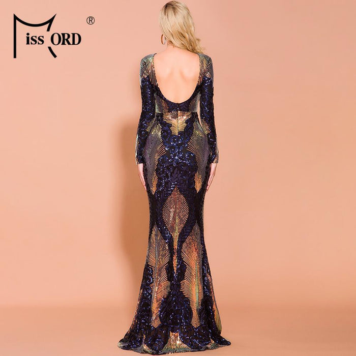 Missord 2020 Women Sexy O Neck Long Sleeve Backless Sequin Dresses Female Maxi Elegant Multi Dress-Dresses-MISS ORD Official Store-Multi-S-EpicWorldStore.com